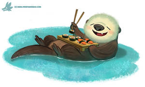 Daily Paint #1104. Sushi Otter by Cryptid-Creations