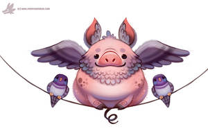 Daily Paint #1116. Flying Pig-eon