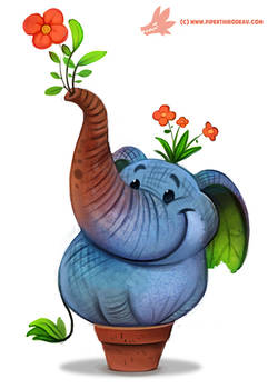 Daily Paint #1173. Elephlant
