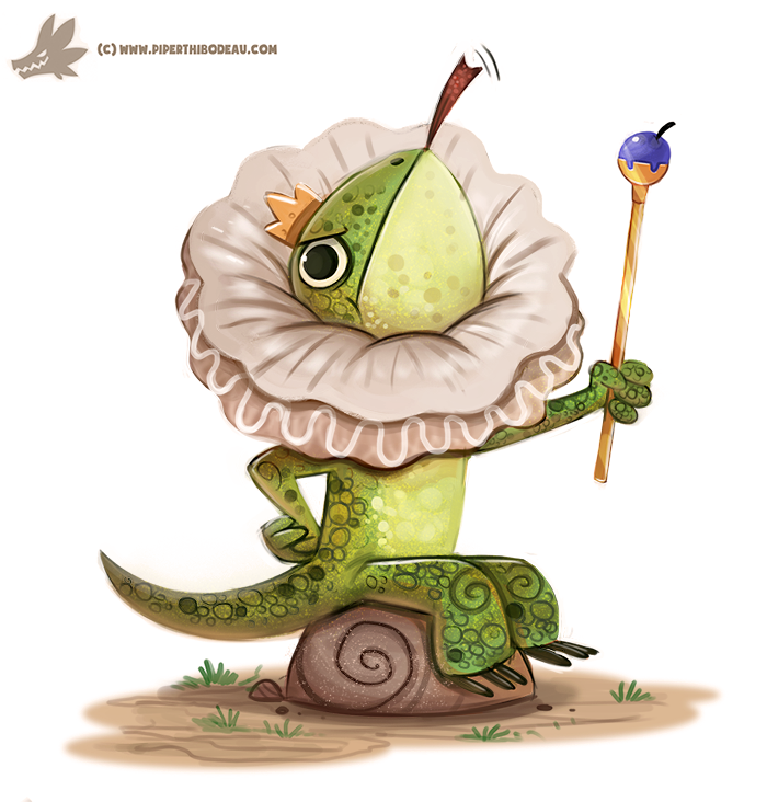 Daily Paint #1177. Frilled Lizard