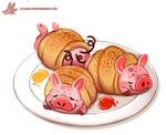 Daily Paint #1178. 'Pigs in a Blanket'