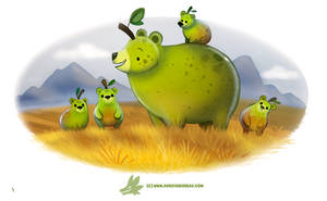 Daily Paint #1221. Grizzly Pears by Cryptid-Creations