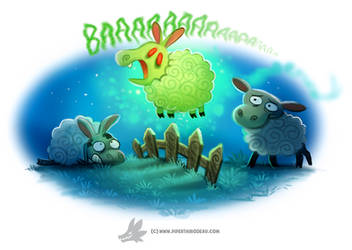 Daily Paint #1253. Bansheep by Cryptid-Creations