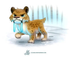 Daily Paint #1259. Light Sabre-Tooth Tiger