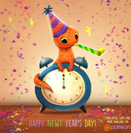 Daily Paint 1502. Happy Newt Year's Day :)