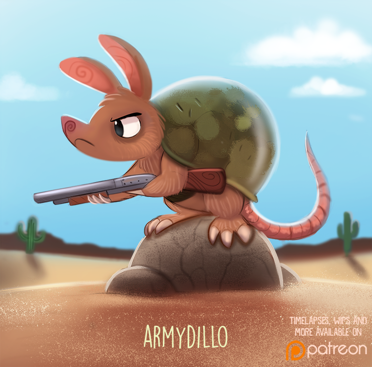 Daily Paint 1509. Armydillo by Cryptid-Creations
