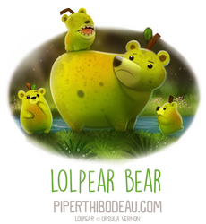 Daily Paint 1592. Lolpear Bear by Cryptid-Creations