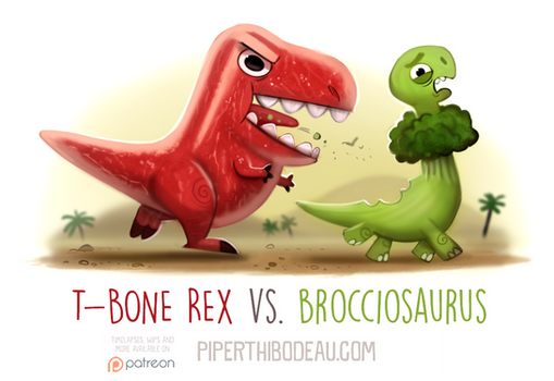 Daily Paint 1602. T-Bone Rex vs. Brocciosaurus