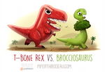 Daily Paint 1602. T-Bone Rex vs. Brocciosaurus