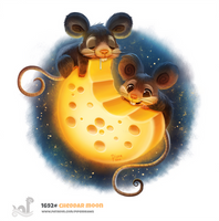 Daily Painting 1692# Cheddar Moon by Cryptid-Creations