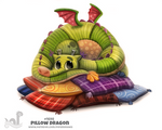 Daily Painting 1698# Pillow Dragon