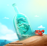 Daily Painting 1716# Bottle Dolphin