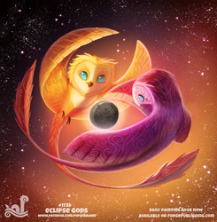 Daily Painting 1735# Eclipse Gods
