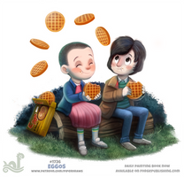 Daily Painting 1736# Stranger Things - Eggos