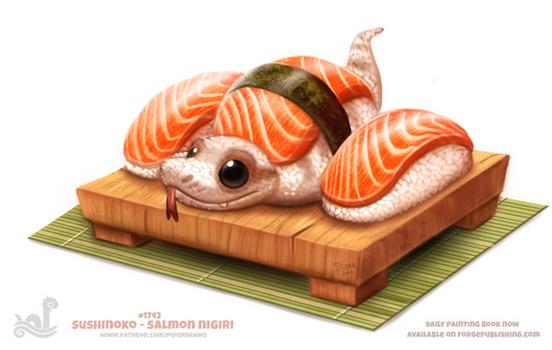 Daily Paint 1743# Sushinoko - Salmon Nigiri
