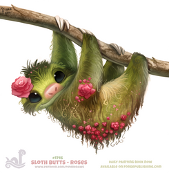 Daily Paint 1746# Sloth Butts - Roses by Cryptid-Creations