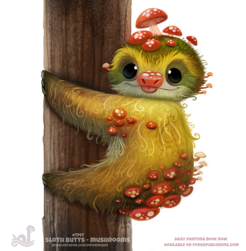 Daily Painting 1747# Sloth Butts - Mushrooms