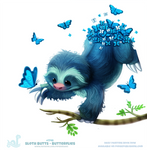 Daily Painting 1748#  Sloth Butts - Butterflies