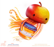 Daily Paint 1753# Apple Jellyfish by Cryptid-Creations