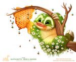 Daily Paint 1756# Sloth Butts - Bees and Daisies