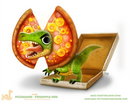 Daily Paint 1765# Pizzasaurus - Pineapple Sins