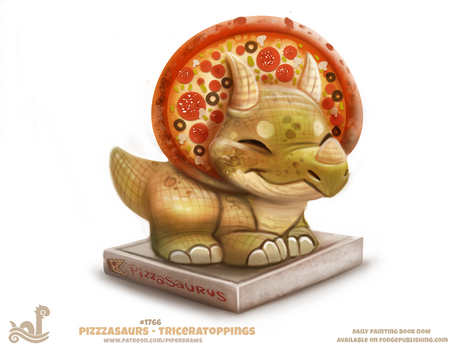 Daily Paint 1766# Pizzasaurus - Triceratoppings
