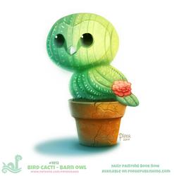 Daily Paint 1812# Bird Cacti - Barn Owl