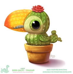 Daily Paint 1813# Bird Cacti - Toucan by Cryptid-Creations
