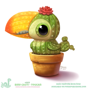 Daily Paint 1813# Bird Cacti - Toucan