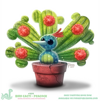 Daily Paint 1814# Bird Cacti - Peacock by Cryptid-Creations