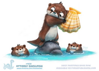 Daily Paint 1839# Otterly Shellfish by Cryptid-Creations