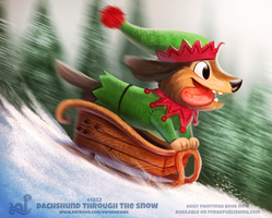 Daily Paint 1852# Dachshund through the Snow by Cryptid-Creations