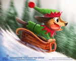 Daily Paint 1852# Dachshund through the Snow