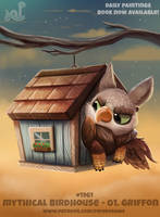 Daily Paint 1961# Mythical Birdhouse - Griffon
