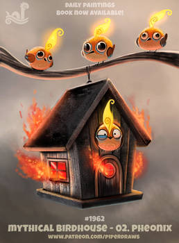 Daily Paint 1962# Mythical Birdhouse - Pheonix