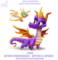 Daily 1963# Spyro Redesigns - Spyro and Sparx by Cryptid-Creations