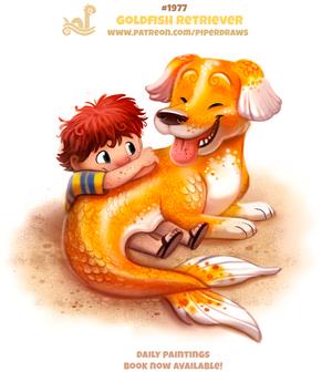 Daily Paint 1977# Goldfish Retriever