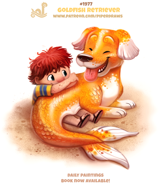 Daily paint 1977 goldfish retriever by cryptid creations for Goldfish pond depth