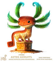 Daily Paint 1980# Aztec Axolotl by Cryptid-Creations