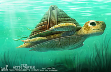 Daily Paint 1981# Aztec Turtle by Cryptid-Creations