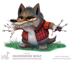Daily Paint 2049# Silverwere Wolf