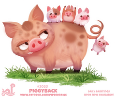 Daily Paint 2053# Piggyback by Cryptid-Creations