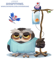 Daily Paint #2064. Hospitowl (Delayed. Emergency)