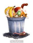 Daily Paint 2095. Litter of Kittens