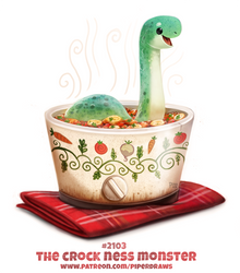Daily Paint 2103. The Crock Ness Monster by Cryptid-Creations