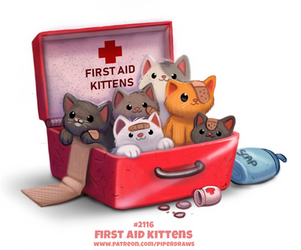 Daily Paint 2116. First Aid Kittens by Cryptid-Creations