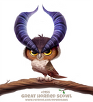 Daily Paint 2155. Great Horned Scowl