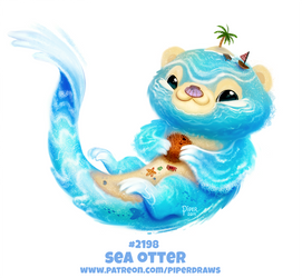 Daily Paint 2198. Sea Otter by Cryptid-Creations