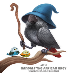 Daily Paint 2210. Gandalf the African Grey by Cryptid-Creations