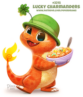 Daily Paint 2215. Lucky Charmanders by Cryptid-Creations